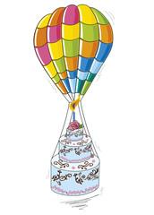 mongolfiera con torta di compleanno in volo