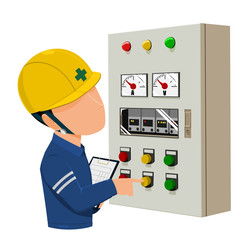 worker is operating control panel on transparent background