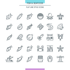Fish and seafood thin icons