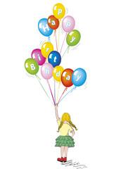 Compleanno bambina con palloncini auguri