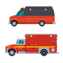 Type II and Type I emergency vehicles on a van type and on a truck type chassis. Side view emergency vehicle. Isolated vector illustration