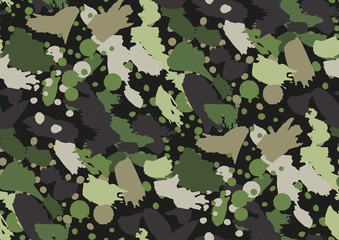 Camouflage seamless pattern. Woodland style. Vector