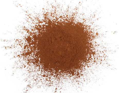 pile cocoa powder isolated on white background, with top view