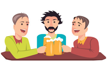Illustration of three friends with beer in a bar. Isolated on white background. Vector eps 10