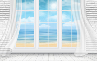 Interior of the room with a white brick wall and a window with view on the sea beach. Vector detailed travel and travel illustration.
