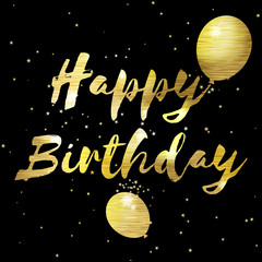 Happy birthday greeting card with golden stylish  lettering