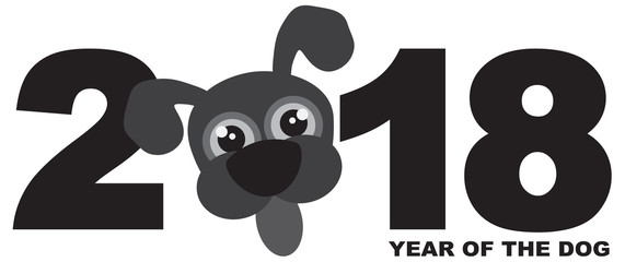 2018 Chinese New Year Dog Grayscale Illustration