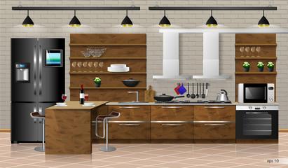Modern interior of wooden kitchen