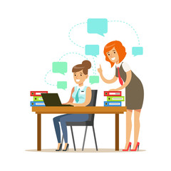 Two employee women working on a project. Colorful cartoon character vector Illustration