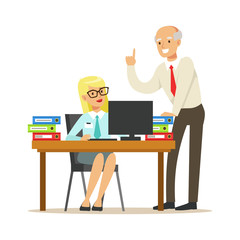 Mature chief giving instructions to his secretary. Colorful cartoon character vector Illustration