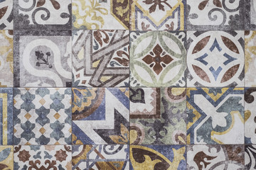 Colorful Moroccan tiles, ornaments, mosaic floor texture