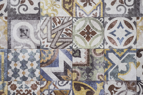 Colorful moroccan tiles ornaments mosaic floor texture stock