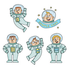 Vector set of cartoon color astronauts isolated on white.