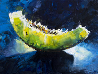 Art Oil-Painting Picture - Shine slice of Melon. Oil on canvas texture. Hand painted. Modern art.