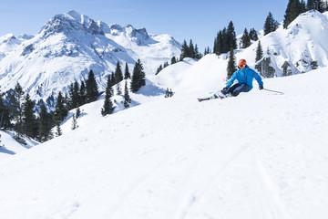 Ski Fahrer Bergpanorama