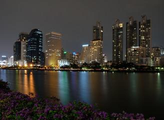 Benchakitti Park in Bangkok at night