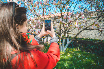 young pretty woman taking picture of blooming sakura