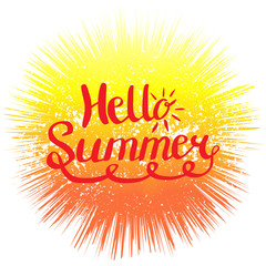 Hello Summer. Hand lettering calligraphy phrase for print and poster.