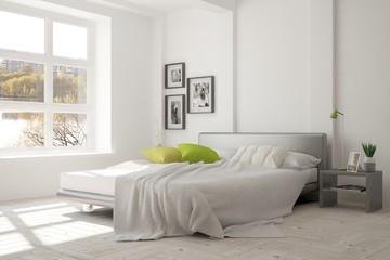 White modern bedroom with urban landscape in window. Scandinavian interior design. 3D illustration