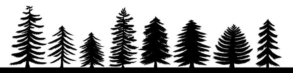 Hand drawn pine tree silhouette set. A variety of coniferous isolated on white background vector illustration.