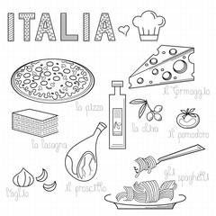 italian kitchen design doodle elements