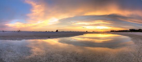 Siesta Key Sunset Panoramic - Sunset Reflection With Lifeguard Towers