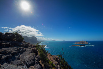 Wall Mural - View of Oahu's south shore towards Makapuu Beach from a ocean side cliff trail