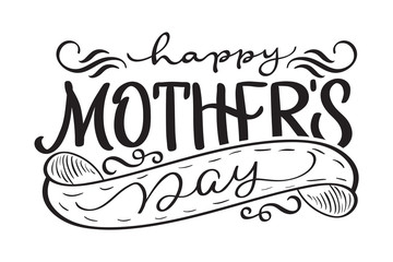 Happy Mothers Day black vector modern text. Calligraphy lettering illustration EPS10