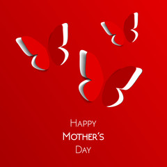 Happy Mother's Day greeting card, red with white paper origami butterflies