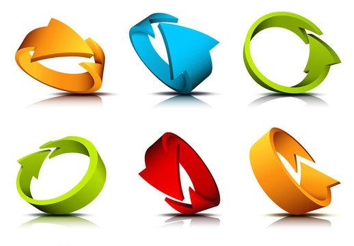 Multicolored 3D Arrow Loop Icons 1
