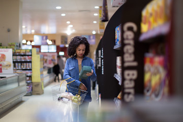 Woman doing weekly grocery shop