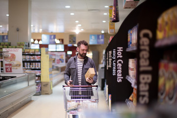 Man doing weekly grocery shop