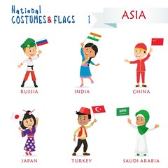 National costumes and flags of the nations - Kids of the world - Asia