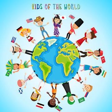 Children with flags around the world