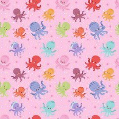 Illustration of cartoon octopus character vector seamless pattern