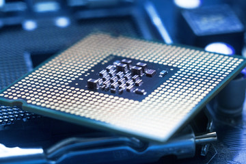 Computer processor lies on the motherboard, technology concept, background