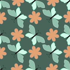 Butterfly vector seamless pattern