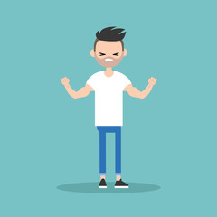 Young bearded man demonstrating his strength / editable flat vector illustration