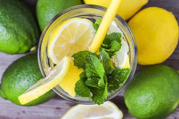 A wooden table drinks Lemon Mint
