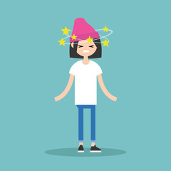 Dizziness conceptual illustration. Young brunette girl with stars spinning around her head / flat editable vector illustration