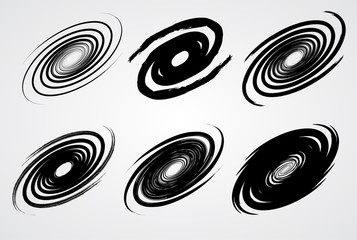 black spiral swirl like galaxy set with brush vector illustration