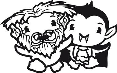 werwolf verkleidung vampir monster horror halloween böse untoter küken süß niedlich klein baby kind ente vogel comic cartoon