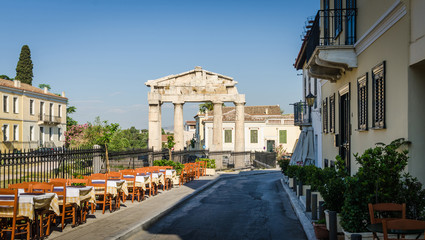Ancient ruins on the streets of Athens.