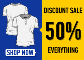 Fashion summer web banner. Sale banner design template with a white t-shirt vector illustration.