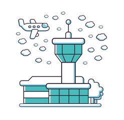 Airport tower building, airplane and clouds, vector line illustration.