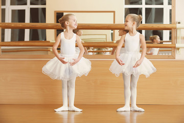 Group of beautiful little girls practicing ballet at class