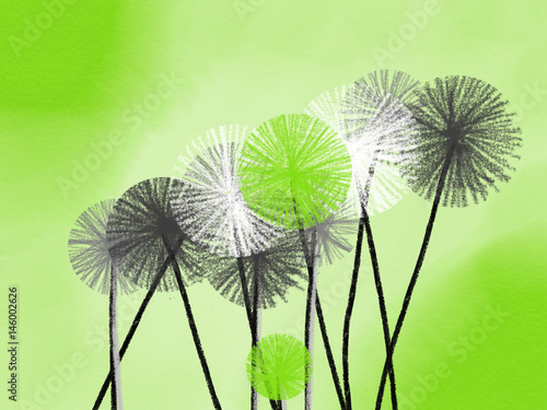 Colorful hand drawn abstract white, green and grey dandelions on green background,  illustration painted by oil color and watercolor on canvas, high quality