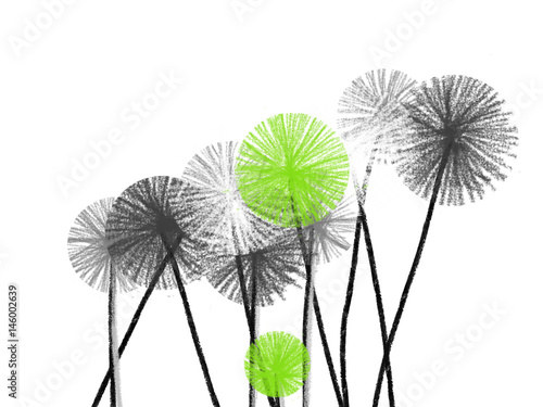 Colorful hand drawn abstract white, green and grey dandelions on white background,  isolated illustration painted by oil color and watercolor on canvas, high quality