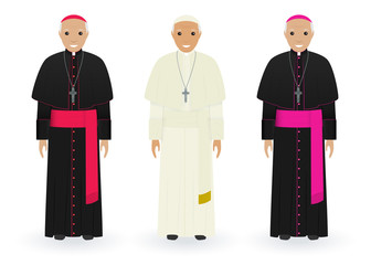 Pope, cardinal and bishop in characteristic clothes isolated on white background. Catholic priests. Religion people. Wall mural
