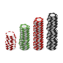 Casino chips in stacks isolated on white background. Realistic 3d gambling chips. Vector illustration for website, brochure, logo, ui in applications. Colorful set
